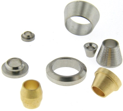 One piece symmetrical and asymmetrical ferrules (brass) and stainless steel front (cone) and rear (disk) ferrules